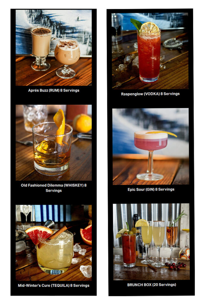 images of 6 cocktails stacked in 2 columns